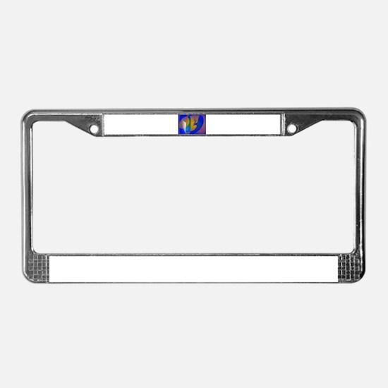 Striking Blue Abstract Art License Plate Frame