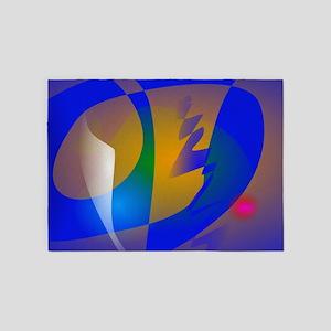 Striking Blue Abstract Art 5'x7'Area Rug