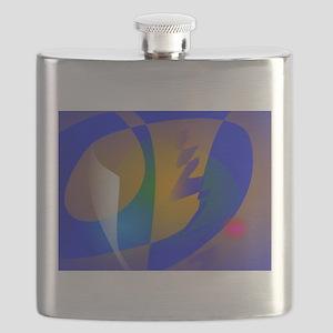Striking Blue Abstract Art Flask