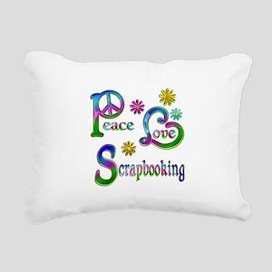 Peace Love Scrapbooking Rectangular Canvas Pillow