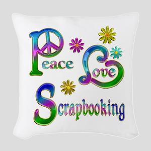 Peace Love Scrapbooking Woven Throw Pillow