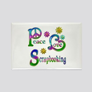 Peace Love Scrapbooking Rectangle Magnet