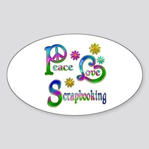 Peace Love Scrapbooking Sticker (Oval)