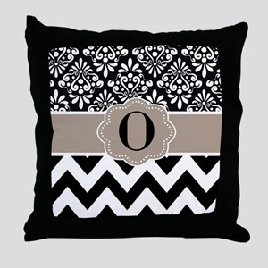 Black Tan Damask Chevron Monogram Throw Pillow