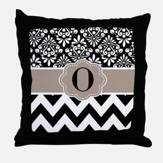 Black Tan Damask Chevron Monogram Throw Pillow