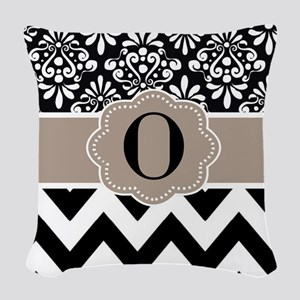 Black Tan Damask Chevron Monogram Woven Throw Pill