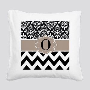 Black Tan Damask Chevron Monogram Square Canvas Pi