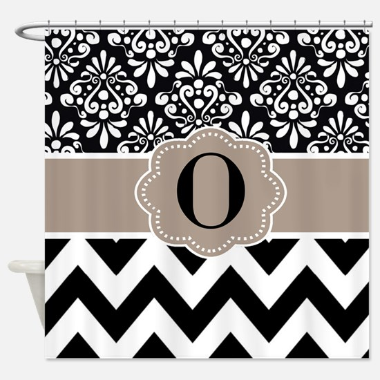 Black Tan Damask Chevron Monogram Shower Curtain