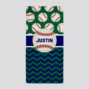 Baseball Green Blue Personalized Beach Towel