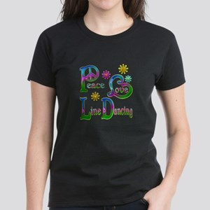 Peace Love Line Dancing Women's Dark T-Shirt