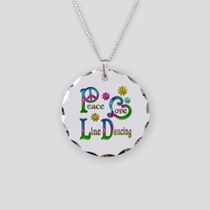 Peace Love Line Dancing Necklace Circle Charm