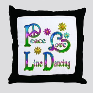Peace Love Line Dancing Throw Pillow