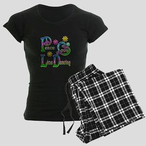 Peace Love Line Dancing Women's Dark Pajamas