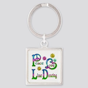 Peace Love Line Dancing Square Keychain