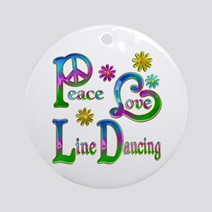 Peace Love Line Dancing Ornament (Round)