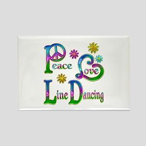 Peace Love Line Dancing Rectangle Magnet
