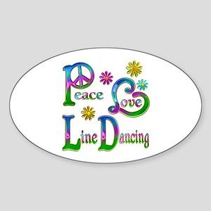 Peace Love Line Dancing Sticker (Oval)