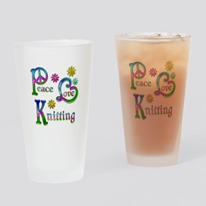 Peace Love Knitting Drinking Glass
