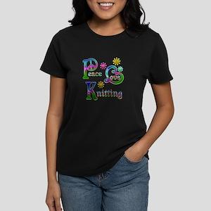 Peace Love Knitting Women's Dark T-Shirt
