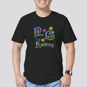 Peace Love Knitting Men's Fitted T-Shirt (dark)