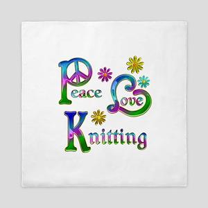Peace Love Knitting Queen Duvet