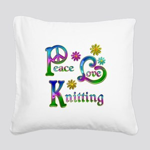 Peace Love Knitting Square Canvas Pillow