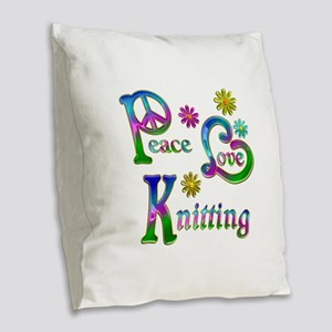 Peace Love Knitting Burlap Throw Pillow
