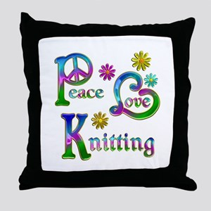 Peace Love Knitting Throw Pillow