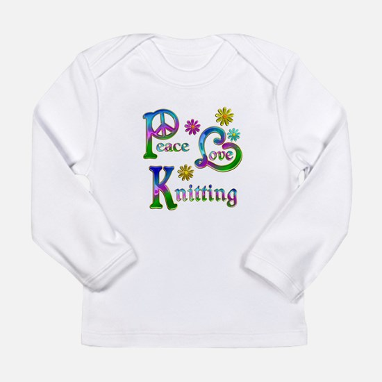 Peace Love Knitting Long Sleeve Infant T-Shirt