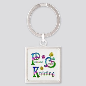 Peace Love Knitting Square Keychain