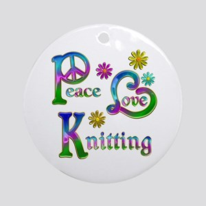 Peace Love Knitting Ornament (Round)