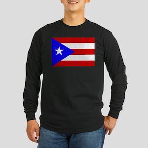 Puerto Rican Flag Long Sleeve Dark T-Shirt