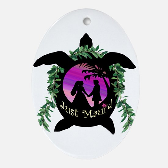 Just Maui'd Honu Logo Oval Ornament
