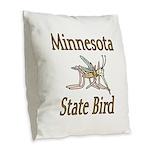 Minnesota State Bird Burlap Throw Pillow