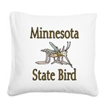 Minnesota State Bird Square Canvas Pillow