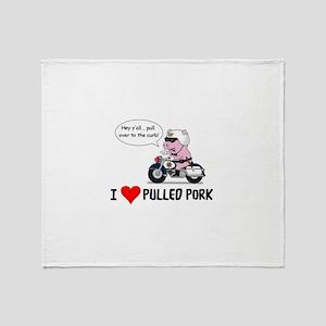 I Heart Pulled Pork Throw Blanket