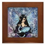 Sapphire Dragon Fairy Gothic Fantasy Art Framed Ti