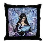 Sapphire Dragon Fairy Gothic Fantasy Art Throw Pil