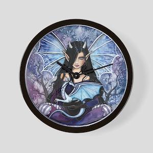 Sapphire Dragon Fairy Gothic Fantasy Art Wall Cloc