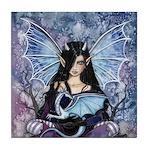Sapphire Dragon Fairy Gothic Fantasy Art Tile Coas