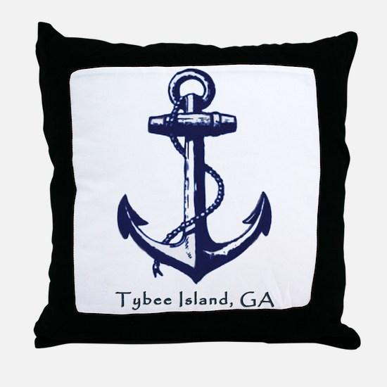 Tybee Island Ship Anchor Throw Pillow