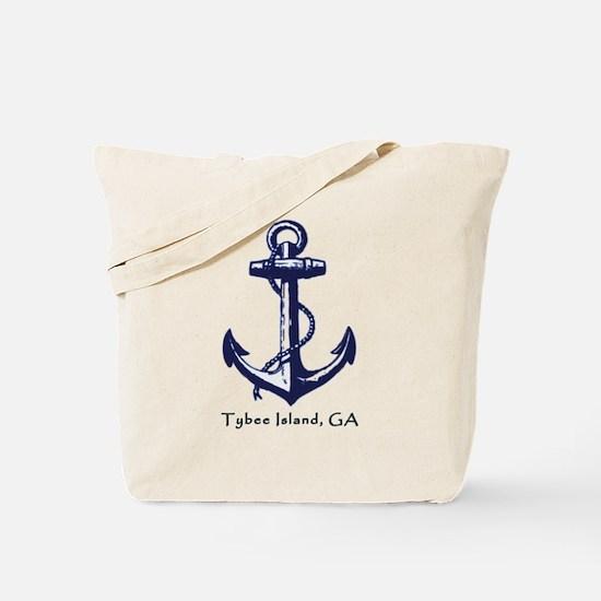 Tybee Island,ga Ship Anchor Tote Bag