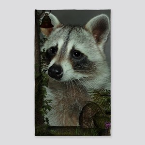 Raccoon Portrait 3'x5' Area Rug
