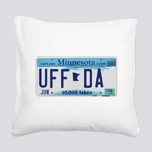 "Minnesota ""Uffda"" Square Canvas Pillow"