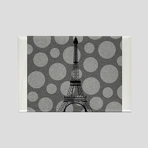 Eiffel Tower on Grey Polka Dots Magnets