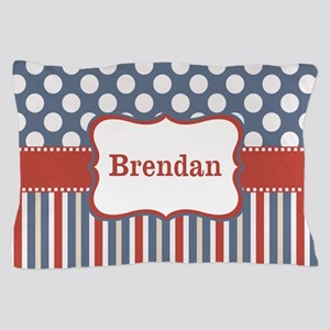 Blue Red Dots Stripes Personalized Pillow Case