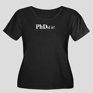 PhD PhDi Women's Plus Size Scoop Neck Dark T-Shirt
