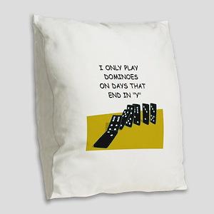DOMINOES2 Burlap Throw Pillow