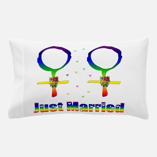 Just Married Lesbians Pillow Case