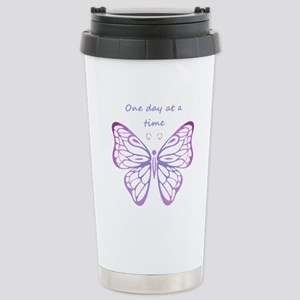 One Day at a Time Quote Butterfly Art Travel Mug
